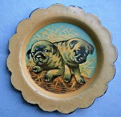 CLOVER BRAND SHOES Miniature Advertising tray with Dog Graphics, early 1900's