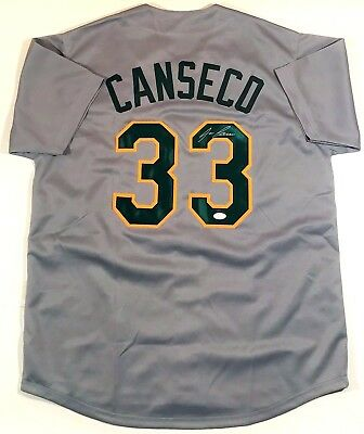 Jose Canseco Signed Oakland A's  Custom Grey Jersey Jsa W Authenticated