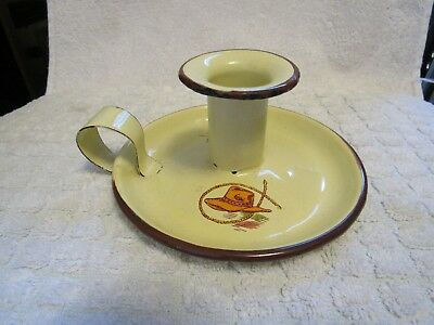 Monterrey Western Ware. Cowboy Hat Themed Candle Holder. Enamelware. Mexico