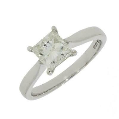 9ct White Gold 1.01cts Solitaire Ring Princess Cut Diamond RA885