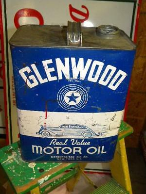 Old Glenwood 2 Gallon Motor Oil Metal Can Empty w. Car Automobile Graphics