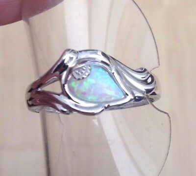 Silver Opal And Diamond Ring With Verse Stunning