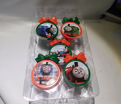 "Set 5 1.5"" Thomas Tank Engine Friends Ornaments American Greetings Favors Trains"
