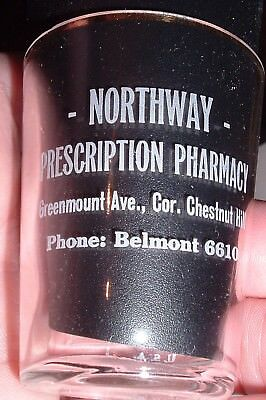 Antique Pre Pro Thin wall Dose Rx Shot Glass Northway Belmont Ohio