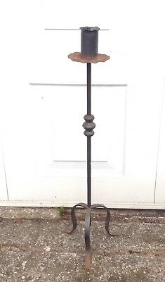 HEAVY WROUGHT IRON CANDLE STAND. GOTHIC MEDIEVAL STYLE. 3ft TALL. CANDLEABRA