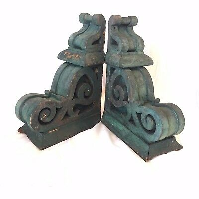 1890's Antique Pair(2) Wood Corbels Brackets Victorian Gingerbread Green 506-17