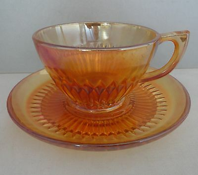 Jeannette Carnival Glass Anniversary Marigold Cup & Saucer
