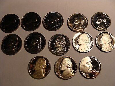 * (13) Different Date Jefferson Nickels - all Choice Proofs !
