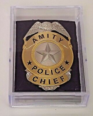"""Jaws Move Amity Police Chief Badge Silver & Gold Toned Metal 3"""" - reproduction"""