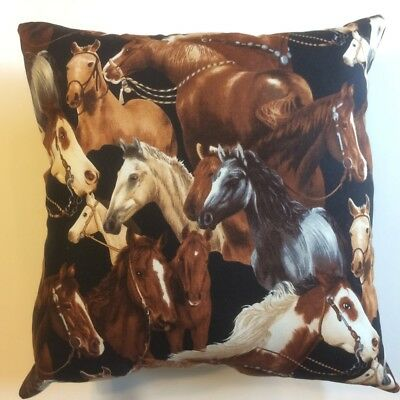 New 15 X 15 Multi Horses Wildlife Animal Farm Country Complete Throw Pillow