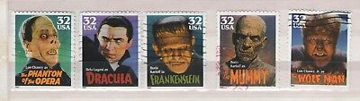 1997 Classic Movie Monsters Complete Set Of Us Commemorative Stamps - Used