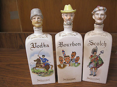 Three Vintage Japanese Decanters-Bourbon, Scotch, Vodka by Relco....nt