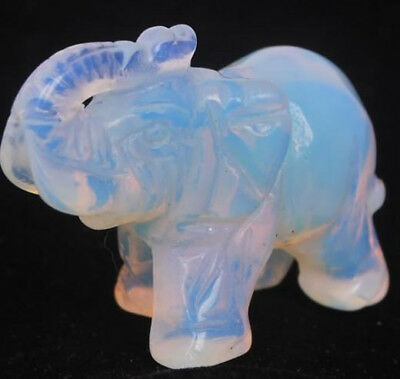Natural MOONSTONE Gemtones Hand Carved Elephant Figurine 1.5''