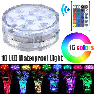 10 LED Submersible Waterproof Lights RGB for Vase Wedding Party Fish Tank Decors