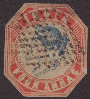 India Litho QV 1854 SG21 4a Blue & Red - Jatia Stone S3 Us CV£2250 [Square]