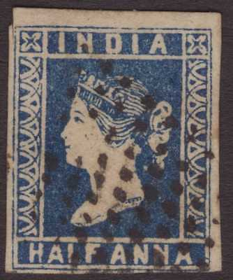India Litho QV 1854 SG4 ½a Deep Dull Blue GU/FU CV£45