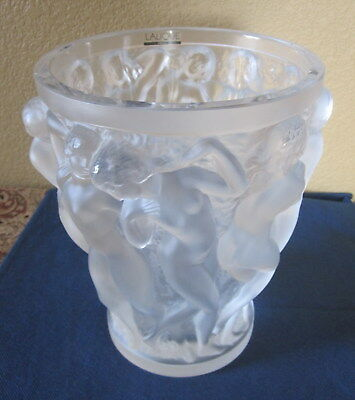 Large Lalique Bacchantes Frosted Crystal Vase W/carton Slight As-Is Condition