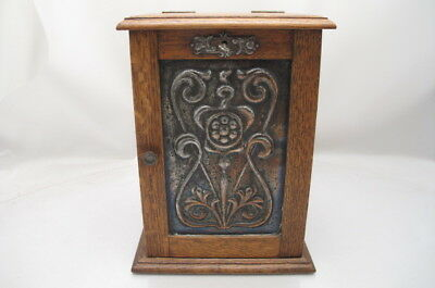 Antique Art Nouveau Oak Copper  Smoking Box Arts Crafts