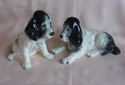 TWO ADORABLE VINTAGE BLACK & WHITE SylvaC SPRINGER SPANIEL CERAMIC DOGS- EX.COND