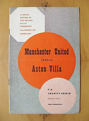 MANCHESTER UNITED v ASTON VILLA Charity Shield 1957 VG Cond Programme *Munich*