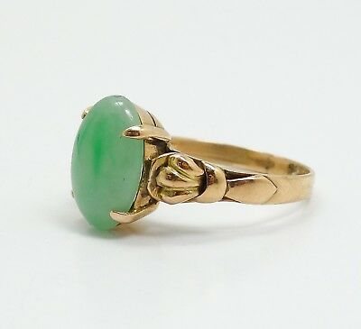 Vintage 1920s/30s 14K Yellow Gold Asian Green Jadeite Cabochon Ring