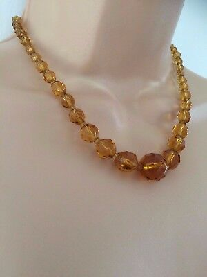 Vintage Deco 30's Amber Colour Multi Faceted Glass Bead Choker Style Necklace