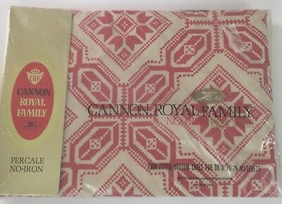 Vintage Cannon Royal Family Percale Twin Fitted Bottom Sheet No iron NIP Red
