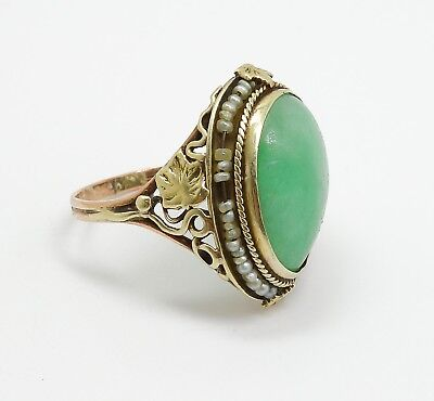 Vintage 1920s/30s 14K Gold Asian Jadeite Cabochon Seed Pearl Floral Ring