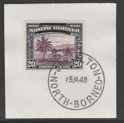 North Borneo 6017 - 1947 KG6 CROWN COLONY 20c with MADAME JOSEPH FORGED POSTMARK