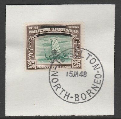 North Borneo 6018 - 1947 KG6 CROWN COLONY 25c with MADAME JOSEPH FORGED POSTMARK