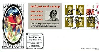 2007 GREAT BRITAIN 1st x6 LOVE ADVERT BOOKLET BENHAM ILLUS. FDC VGC