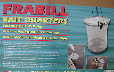 """FRABILL 1290 Bait Quarters Floating Bait Well Net 18"""" x18"""" approx 20 Gallon New"""