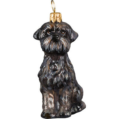 Affenpinscher Sitting Dog Blown Glass Polish Christmas Ornament Decoration