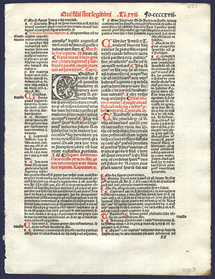 512 Yr Old Early Printing Leaf The Decretales Pope Gregory IX Civil & Canon Law