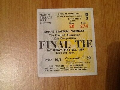 Original Ticket 1959 Fa Cup Final Nottingham Forest Fc V Luton Town Fc Football