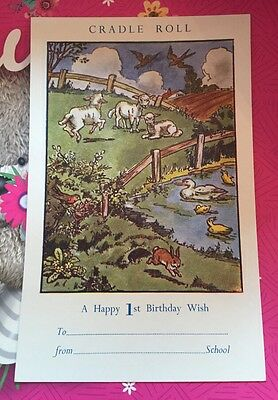 Only 99p VINTAGE Antique RARE 1930s CRADLE ROLL FIRST BIRTHDAY WISH CARD
