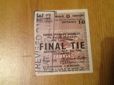 Original Ticket 1963 Fa Cup Final Manchester United V Leicester City