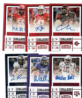 2017 Panini Contenders Draft Ticket Auto LOT(6)- Hall/Walker Jr./Pascal (MH)