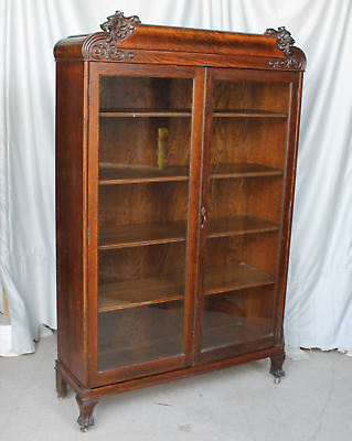 Antique Double door Bookcase with lions head and claw feet - Adjustable shelving