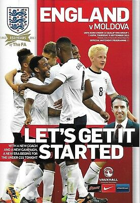 Football Programme>ENGLAND UNDER-21 v MOLDOVA UNDER-21 Sept 2013 @Reading FC