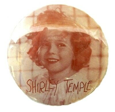 Pink Shirley Temple Childhood Actress Star Celebrity Button Pinback Vintage