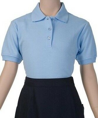 School Uniform Girls S/S Polo Blue French Toast Picot Collar Shirt 18 1/2  New