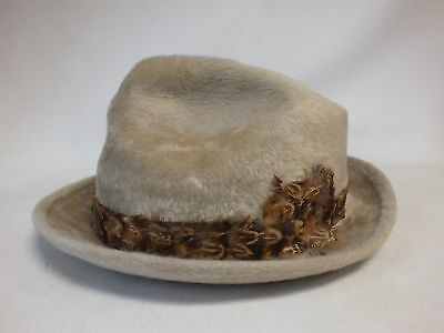Mens Vintage AUSTIN REED Beige Furry Feather Band Trilby Fedora Hat Size 7 - SA1