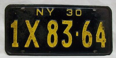 "Antique (1930) License Plate, New York State, ""1X83-64"" Yellow on Black Original"