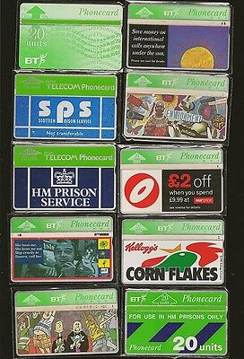British Telecom 10 Different 1990s Used Phone Cards