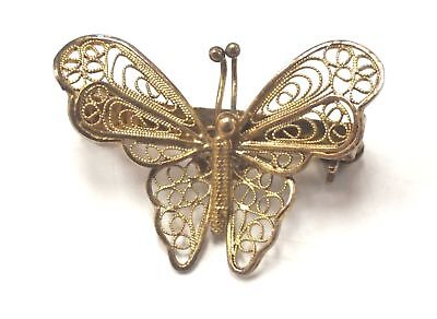 Gold Plated 925 STERLING SILVER Butterfly Brooch, 3.09g - C68