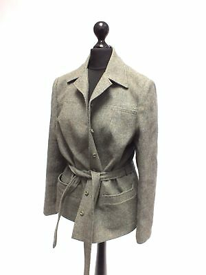 Ladies Vintage Green Pure New Wool Belted Collared Jacket Size UK 16 - B29