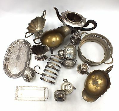 Job Lot 3.7kg White Metal/EPNS/Brass Items - Tray, Toast Rack, Teapot, Jug - L43
