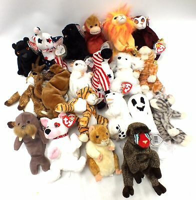 20x Assorted TY Beanie Babies with Tags - Ghost, Dog, Monkey, Democrat - N42