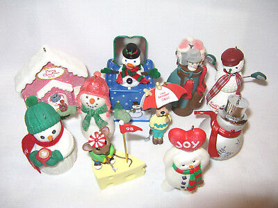 Lot of 10 Hallmark Christmas Ornaments Snowman & Golf  NO BOXES